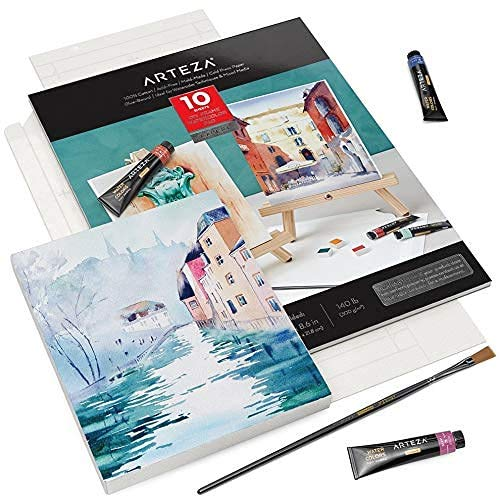 Arteza Watercolor Paper Foldable Canvas Pad, 100% Cotton Pulp, Folded Size 7x8.6 Inches, 10 Sheets, DIY Frame, 140 lb, 300 GSM, Acid-Free, Art Supplies for Painting & Mixed Media Art