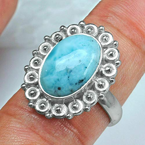 Solid 925 Sterling Silver Rings for Women & Girls, Sterling Silver Larimar Rings, Bridesmaid Rings, Statement Christmas Gift, Handmade Jewelry