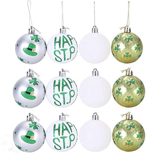St Patricks Day Hanging Decorations Ornament 12 Pack Shamrock Clover Hanging Drop Adorn for St Pattys Day Accessories Irish Festival Family Party Home Indoor Outdoor Xmas Tree Decor Gift Supplies