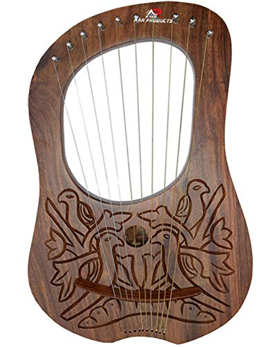 AAR Lyre Harp 10 String Instrument Rose wood Lye Harp with Carrying Case &...