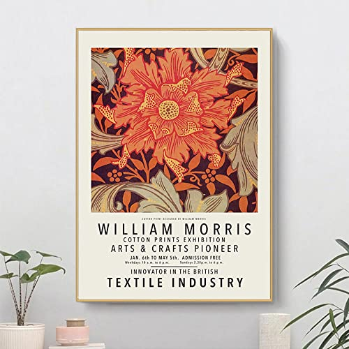 William Morris Obra de arte Póster Flor Hojas Lienzo Arte pared Pintura de impresión abstracta Galería moderna Cuadros sala de estar Decoración de arte pared 30×40cm Sin marco N9