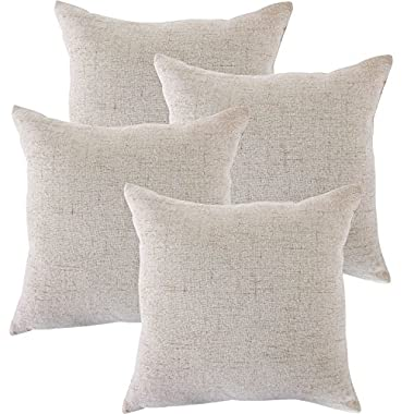 CHANODUG Linen Pillow Covers 20 x 20 Inch Sets of 4 French grey Decorative Square Throw Pillow Cover Cushion Case Sofa Durable Modern Stylish Linen French grey Throw Cushion Covers Hidden Zipper