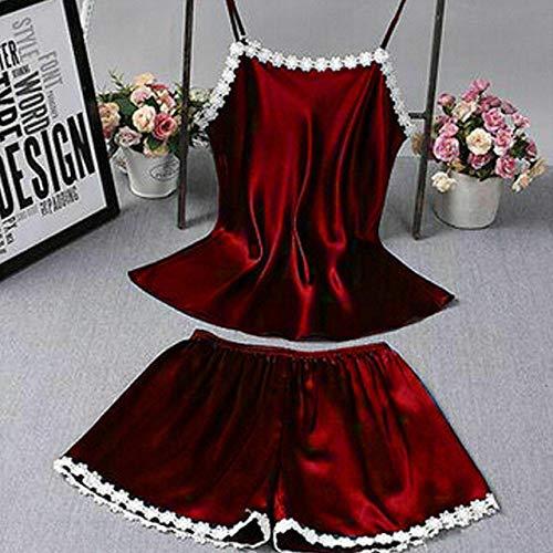 2 Piezas Vestido de bebé de Encaje Satinado para Mujer Ropa Interior Camisón Señoras Estampado Floral Escote en V Honda Pijama Estilo C1 L