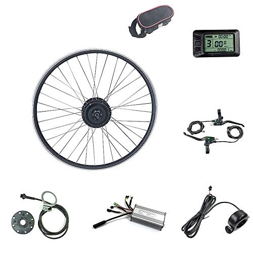 Schuck E-bike kit 48V 500W 20'/24'/26'/27.5'/28'/29'/700C Front Motor Wheel Electric Bicycle Conversion Motor Kit E-Bike Cycling with KT-LCD7 Display (48V 24 inch)