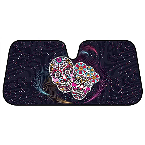 Día de Los Muertos Theme Day of The Dead Front Windshield Sunshade-Double Bubble Accordion Folding Auto Shade for Car Truck SUV-Blocks UV Rays Sun Visor Protector-Keeps Your Vehicle Cool- 58 x 27 in