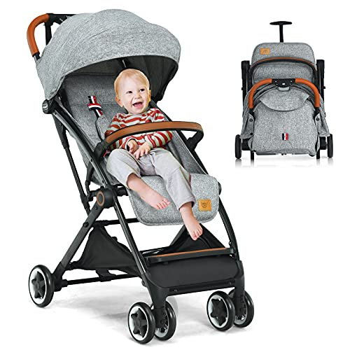 GYMAX Baby Foldable Stroller, Adjustable Backrest Pushchair with Safety Belt, Storage Basket, Leather Handle and Lockable Wheels,for 0-3 Years Olds Infant Kids (Gray)