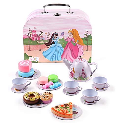 BEIAOSU 24pcs Tin Teeservice Set für Kinder - Teeset Kaffeeservice Prinzessin Muster mit Koffer für Kinder Geschirr Puppengeschirr