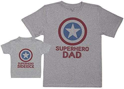 Baby Bunny Superhero Sidekick - Regalo para Padres y bebés en un Camiseta para bebés y una Camiseta de Hombre a Juego - Gris - L & 0-3 Meses