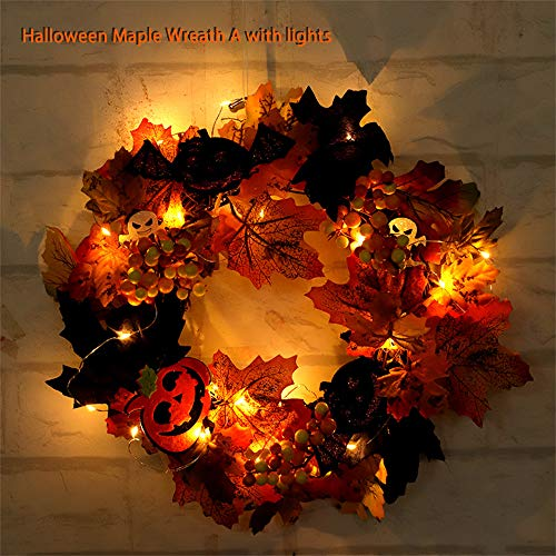 Maple Wreath, Halloween Artificial Maple Leaf Wreath with Lights Autumn Leaves Pumpkin Berry Hanging Garland Fall Wreath for Front Door, Halloween, Christmas, Thanksgiving Decoration