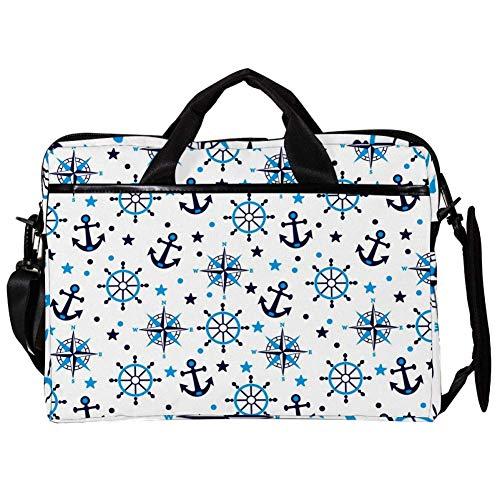 TIZORAX Laptop Messenger Shoulder Bags Blue Anchor Compass Computer Sleeve Notebook Carrying Case 15-15.4 inch Handbag