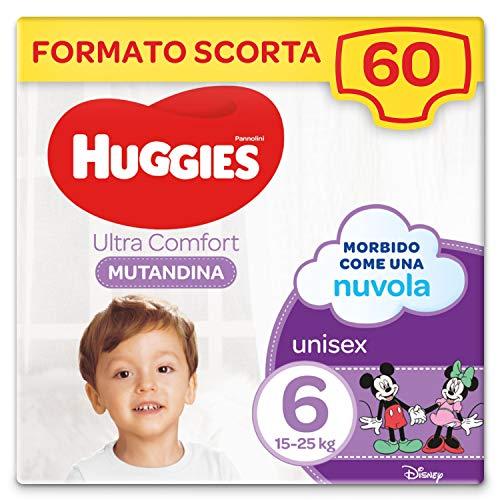 Huggies Ultra Comfort Pannolino Mutandina, Taglia 6/15-25 Kg, Confezione da 60 Pannolini, 30 x 2