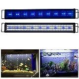 Aquarien ECO Rampe LED Aquarium 90CM Blanc Bleu Lumière Nuit Douce 90cm-120cm Extensible Fiche Européenne Lampe Éclairage pour Plante Poisson Aquariophilie A171