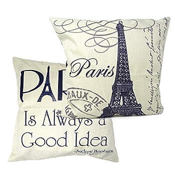 yueton 2Pcs 1818  Paris Eiffel Tower Stamp Letter Home Decorative Cotton Linen Square Pillow Case Sofa Waist Back Throw Cushion Cover