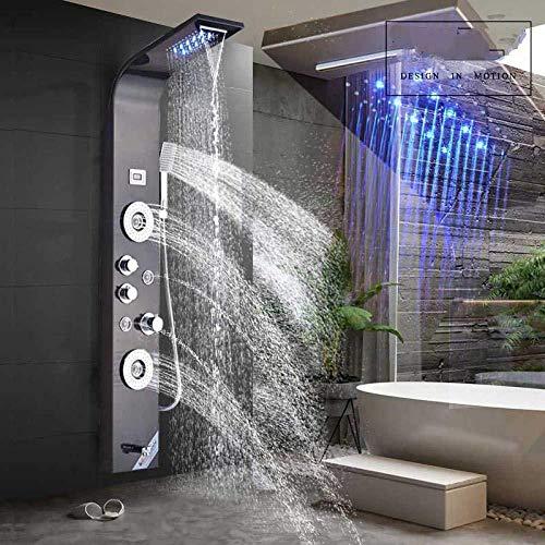Wieoc Duschsystem Luxus Wasserfall Regen Duschpaneel 3 Griff Spa Massage Jet Dusche Wasserhahn Spalte Digitalanzeige Led Licht Dusche Set Wandhalterung Schwarz Farbe