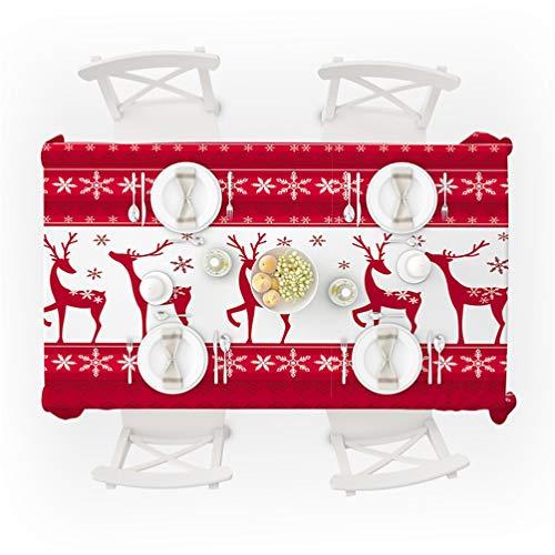 ZC Dawn Natale Tovaglie, Vacanze di Natale Tovaglia, Decorative Copertura Tavolo in Tessuto per Esterni Ed Interni,B,59inx82.6in