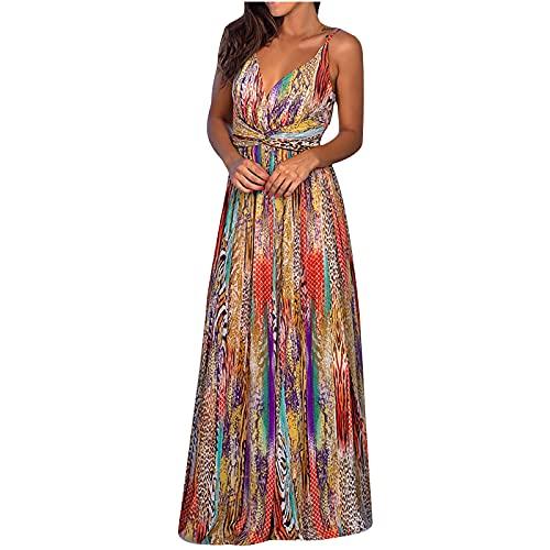 Zzbeans Vestido de verano para mujer largo, cintura alta, maxivestido para mujer, bohemio, cuello en V, vestido retro de flores, vestido de playa, vestido sexy, Mujer, Gold_B, xx-large