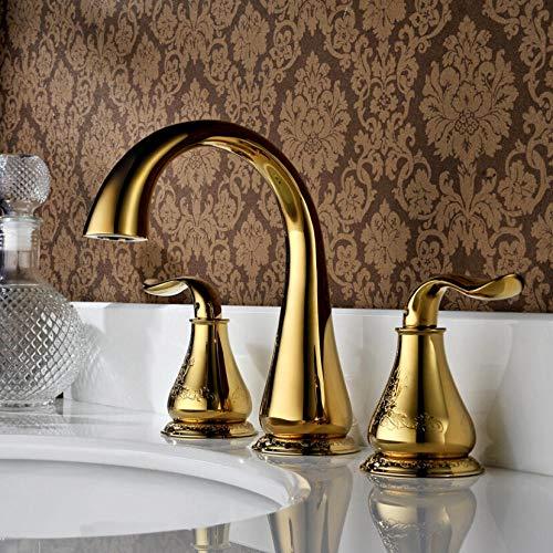 Keukenkraan Volledig koperen imitatie van Europese klassieke dubbele driegats gespleten warm- en koudwaterkranen, gegraveerd verguld