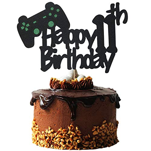 Video Game Cake Topper for 11 Year Old Gamer Birthday Decorations, Glittery Happy 11th Birthday Video Game Cake Topper for 11th Birthday Party Cake Decorations