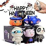 【New】 6 Packs Halloween Squishies Toys, Slow Rising Squishies Toys- Pumpkin, Vampire,Black Cat,Mummy,Human Skeleton, Bat, Stress Relief Super Soft Squeeze Kawaii for Girls Boys, Kids