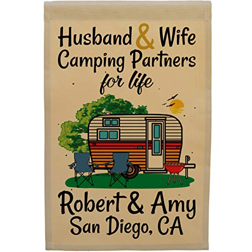 Personalized Husband & Wife Camping Partners For Life Camping Flag One-Side Printed Approximately 12.5x18