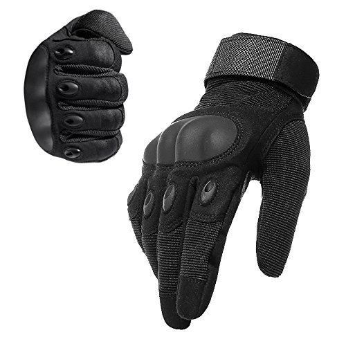 Tactical Gloves Military Rubber Hard Knuckle Outdoor Gloves for Men Fit for Cycling Motorcycle Hiking Camping Powersports Airsoft Paintball (Black, Large)