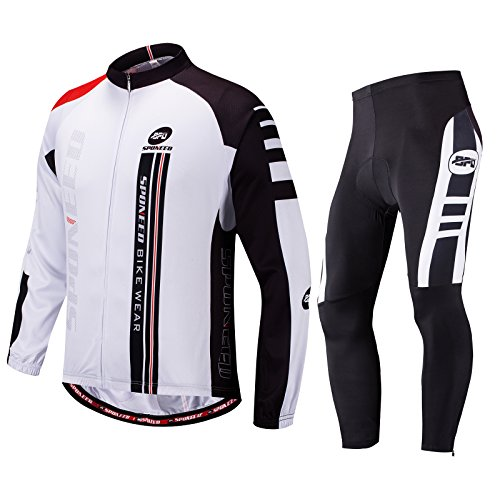 sponeed Cycling Clothes for Men Bike Jersey Pants Padding Tights Road Bike Shirt Jacket Outdoor Cycle Wear L White