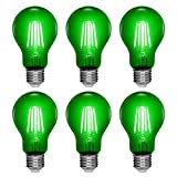 FAGUANGAO A19/A60 4W LED Filament Green Colored Light Bulbs,60 Watt Equivalent,E26 Transparent Dimmable Green Bulbs,Decoration for Christmas Party, Bars,Stage,Restaurant,6 Pack-Green