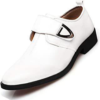 Nstqlzh Formal Business Oxfords for Men Leisure Cap Toe Shoes Hook&Loop Strap Faux Leather Pointed Toe Metal Decoration Block Heel` (Color : White, Size : 39 EU)