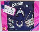 Barbie Pretty Treasures - Juego de joyas de plata, zapatos, monedero, corona