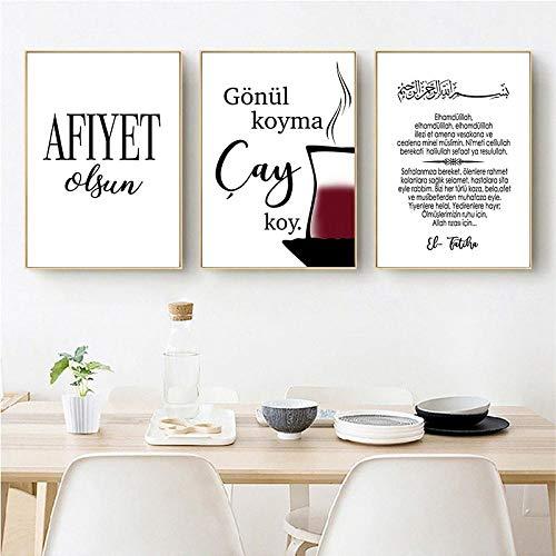 YDGG Islamische Bilder Poster Drucke Bismillah Elhamdulillah Arabische Wandkunst Leinwand Bilder Küche Wohnzimmer Dekor-50x70cmx3 STK. Kein Rahmen