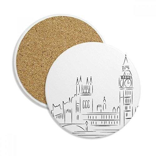 Sketch Caneca porta-copos com ilustração de marco de bandeira do Reino Unido Pedra absorvente de proteção de mesa