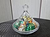bombonera de cristal con tapa de 12,5CM - cuenco de cristal para dulces - plato de frutas