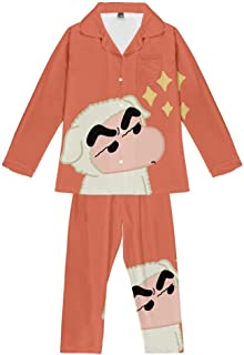 Pajama Set Teenagers Crayon Shin Chan Anime Loungewear Unisex Pjs Two Piece Soft Sleepwear Youth Long Sleeve Button Nightwear