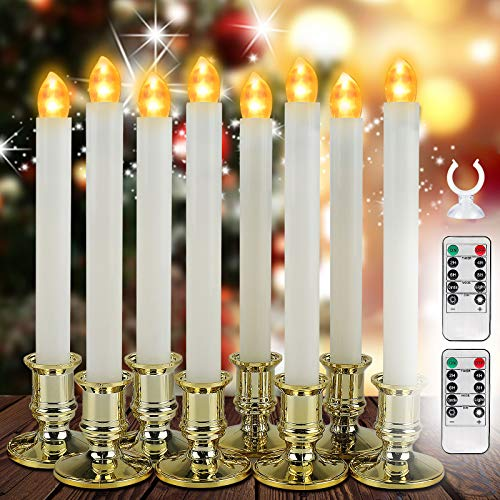 Esbaybulbs Flameless Taper Candles with Remote Timer LED Window Candles Christmas Candle Lights for Window Battery Operated Warm White Flickering Light 8 Pack
