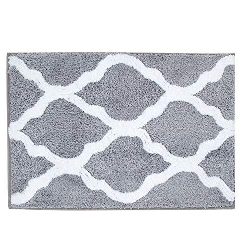 Pauwer Badematten Mikrofaser rutschfeste Saugfähig Badteppiche Waschbar Badteppich für Badezimmer Wohnzimmer 45x65 cm (Grau)