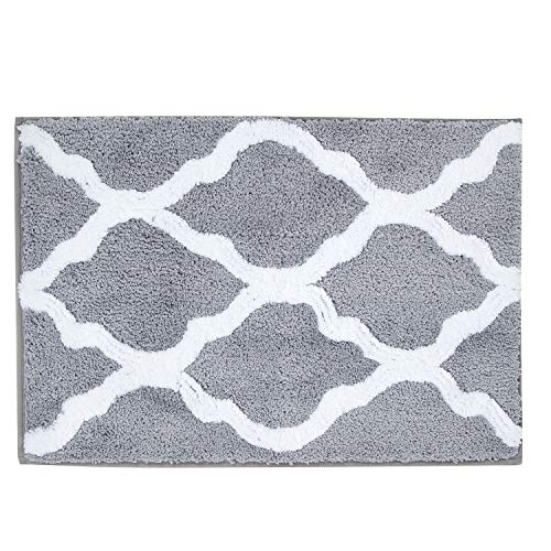 "Pauwer Microfiber Bathroom Rugs Geometric, Non Slip Bath Rugs Floor Mat Machine Washable (18×26"", Grey)"