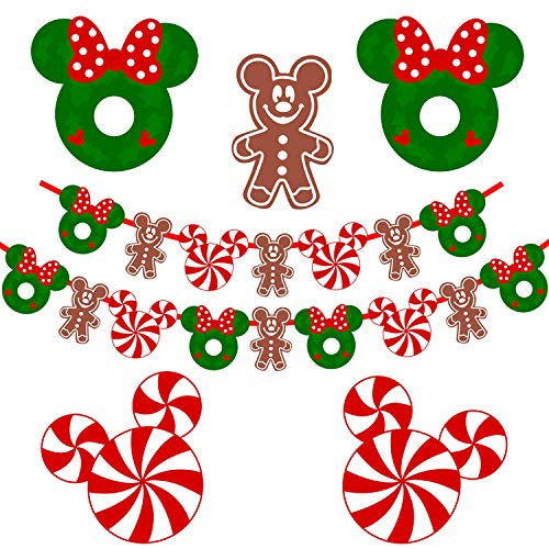 Mickey Mouse Christmas Decorations, Candy Mickey Christmas Garland,Mickey Mouse Birthday Party Banner,Candy Christmas Peppermint Fireplace Garland Home Decorations