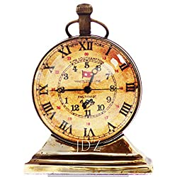 """JD'Z COLLECTION Brass Vintage Nautical Desk and Shelf Clock with Magnetic Compass, Analog, Roman Dial, Antique Finish for Study Table, Office, Bedroom, Living Room, Home Decor (2.5"""", Brown)"""