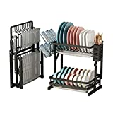 Apsan Foldable Dish Rack with Drying Drainboard, 2-Tier Dish Drying Rack with Utensil Holder Cup Holder for Kitchen Counter, Stainless Steel Black