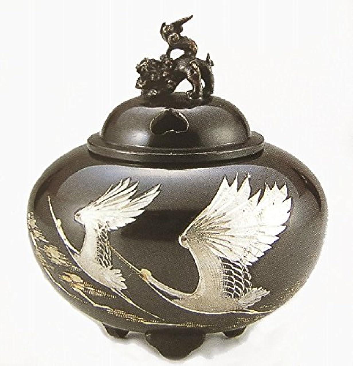ロースト理想的スポンジ『平丸獅子蓋香炉?双鶴』銅製
