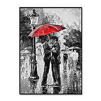 抽象ジクレー絵画赤い傘キャンバスポスター壁アートプリント現代絵画北欧スタイル家の装飾写真壁画60x80cmフレームレス