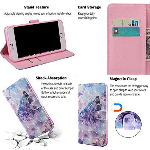 vingarshern Hülle für Huawei Y3 (2017) Schutzhülle Tasche Etui Klappbares Magnetverschluss Flip Case Lederhülle Handytasche Huawei Y3 2017 Hülle Leder Brieftasche(Wolf-2) MEHRWEG - 4
