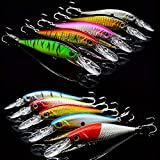 OriGlam 10 Pack Fishing Lures Hard Baits, 3D Eyes Minnow Fishing Lures Crankbait, Swimbait Fishing Tackle Lure Kit for Freshwater/Saltwater/Topwater, Bass, Trout, Walleye, Redfish