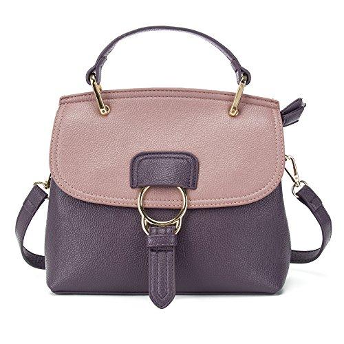 VANCOO Sacchetto di cuoio dell'unit¨¤ di elaborazione della borsa dell'annata del cuoio dell'unit¨¤ di elaborazione della borsa del progettista per le donne 9098 Viola