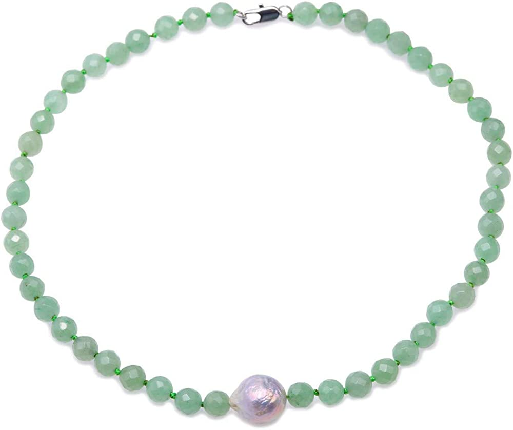 JYX 8.5mm Round Faceted Green Aventurine Jade Necklace with Baroque Pearl Pendant 18
