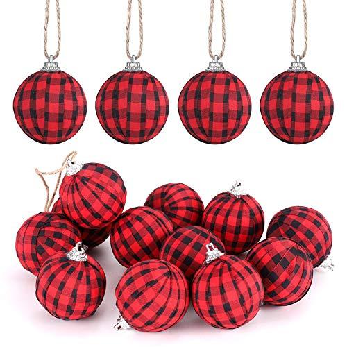 KSPOWWIN 12 Pieces Christmas Buffalo Plaid Ball Ornaments Christmas Fabric Ball Hanging Ornament Tree Hanging Ornament for Christmas Tree Party Decoration Supplies