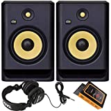 KRK RP8 Rokit 8 G4 Professional Bi-Amp 8' Powered Studio Monitor Pair + TH02 Headphone + Magnet Phone Holder