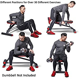 HARISON Compact Weight Bench with Dumbbel Rack, Adjustable Flat Decline Workout Bench Exercise Equipment for Home Use