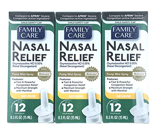 3 Pack - Family Care Nasal Relief Anti-drip Pump Mist - Oxymetazoline HCl