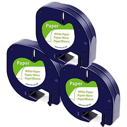 3-Pack Replace for Dymo Letra Tag 91330 (S0721510) 12mm 0.47 Inch Black on White Self-Adhesive Paper Refills Compatible with Dymo Letratag Label Maker LT-100T LT-100H QX50, 1/2 Inch x 13 Feet